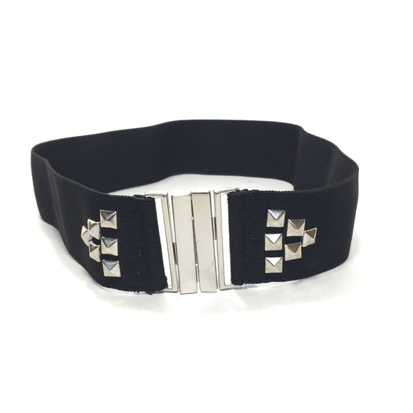 Accessories - Women's Black Elastic Studded Wide Belt Size Small